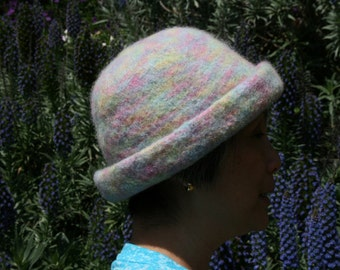 Handmade hand knitted and hand felted multi-colored hat