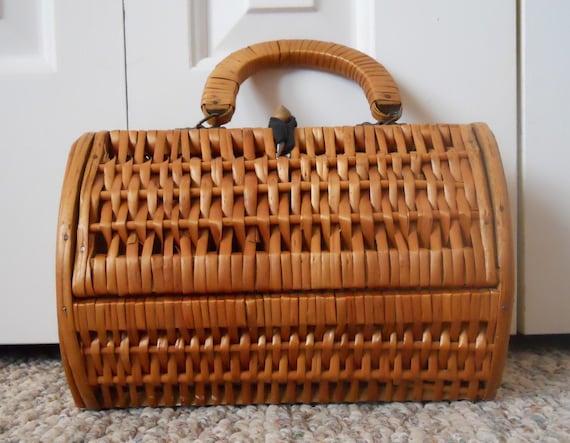 Vintage Woven Wicker Basket Purse