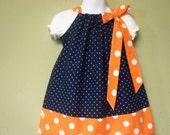 Pillowcase Dress Orange Blue Auburn Colors Custom Sizes 3m-6yrs