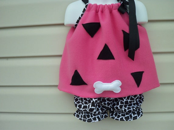 Pebbles Flinstone Tunic, Diaper Cover, and Hairclip Pink, Orange, or Green  NB-4T