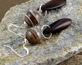 Brown Botswana agate and ebony wood earrings on sterling silver hooks