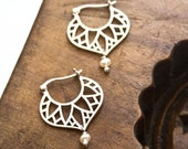 Egyptian Earrings, Sterling Silver Earrings, Silver Hoop Earrings