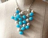 Statement Jewelry, Bib Necklace, Turquoise & Silvery Grey