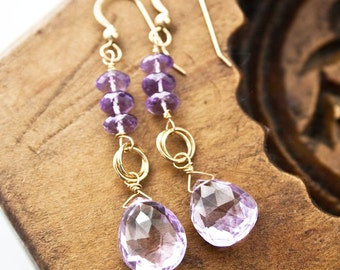 Amethyst Earrings, February Birthstone, Purple Earrings, Gemstone Jewelry