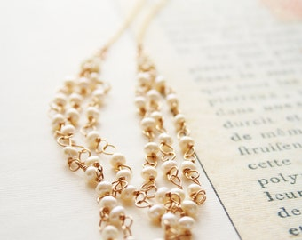 Pearl Necklace, Wedding Jewelry, Multi Strand Necklace