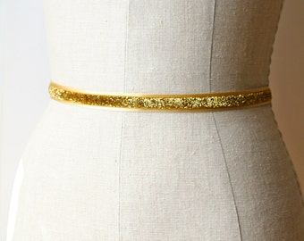 Glittery Gold Sash, Holiday Belt, Bridesmaid Sash, Bridal Belt