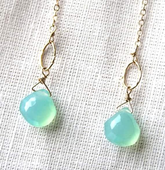 Pastel Earrings, Seafoam Green, Gemstone Jewelry