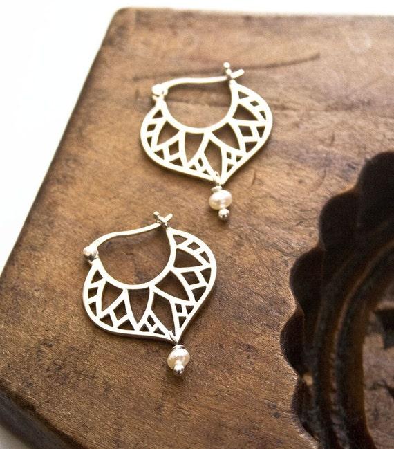 Egyptian Earrings, Sterling Silver Earrings, Silver Hoop Earrings