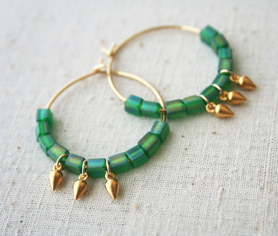 Tribal Hoop Earrings, Vintage Green Glass, Gold Earrings