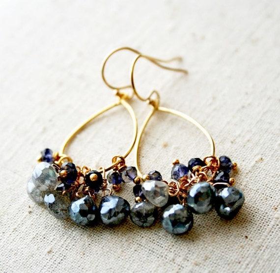 Blue Grey Earrings, Labradorite Earrings, Stormy Seas