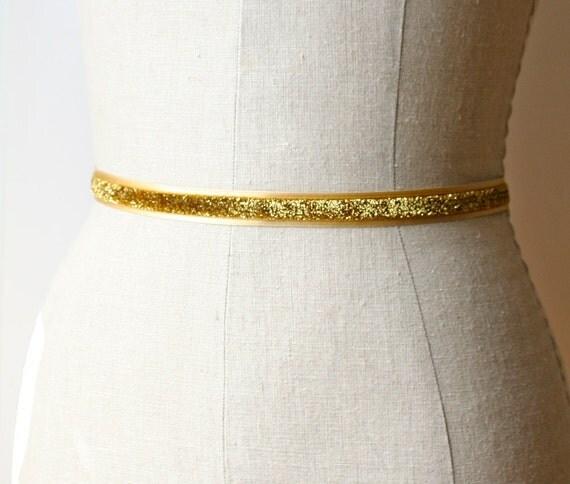 Glittery Gold Sash, Holiday Belt, Bridesmaid Sash, Bridal Belt
