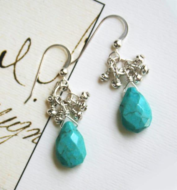 Turquoise Earrings, Silver Earrings, Sterling Silver Jewelry