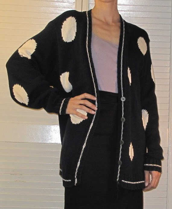 SALE--------90s Navy and White Polka Dot Long Oversized Cardigan