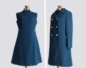 vintage 1960s dress & jacket / 60s mod dress - matching coat / navy blue wool / size medium