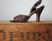 vintage 1940s shoes // size 7 // 40s glitter peeptoe heels // handmade Mackey Starr New York // Euro size 37.5 Uk size 5
