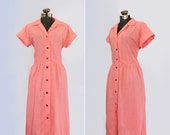 vintage 1940s dress // 40s shirtwaist day dress // melon pink // size extra large