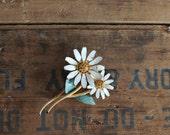 vintage 1960s brooch // BSK signed pin // daisy flower - amber rhinestones // designer costume jewelry