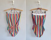 vintage 1970s swimsuit // 70s one piece striped suit // halter neck // size small