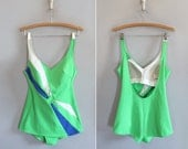 vintage 1960s swimsuit // lime green maillot // size medium