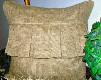 26 X 26 Pleated Burlap European and king Sham Pillow Cover for Cottage and Beach decor