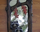 Two Raccoons Carved Mirror Chainsaw Carving Wood Wall Art  New Item