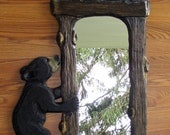 Black Bear Cub and Raccoon Mirror Chainsaw Carving Wood Wall Art Free Shipping