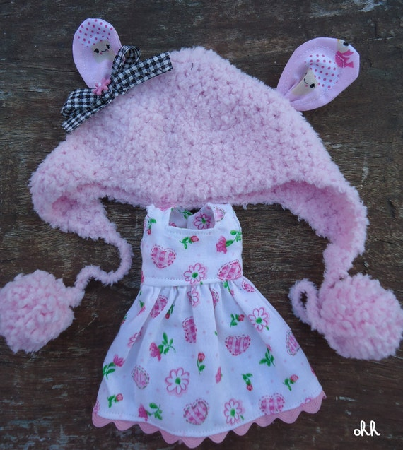 pullip blythe pink soft hat and dress made to order