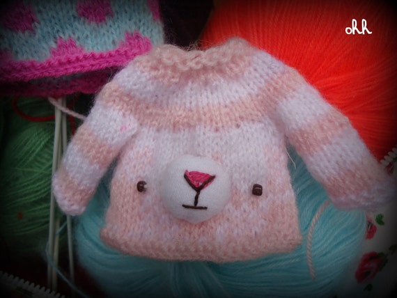 blythe pullip bear set hat and sweater sale made to order