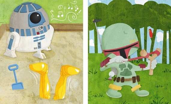 Baby Star Wars wall art - Set of four 8x10 prints
