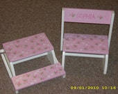 Kids Personalized Flip Up Stool Chair with Design PAINTED on All - 3 Surfaces - Floral Rose Bud Design