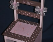 CHILDREN'S CHAIR  Personalized Pink / Brown Floral Design