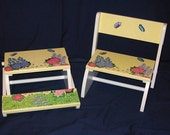 Kids Personalized Flip Up Stool Chair with Design PAINTED on ALL..3.. SURFACES -  In The Garden