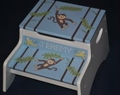 Kids Personalized 2 Step Stool and Storage Bench  MONKEY'S and BANANAS