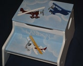 Personalized 2 Step Stool and Storage Bench  Airplanes
