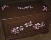 HOPE CHEST  - Cherry Blossoms - Custom Design To Match Room Decor