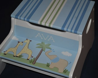 Kids Personalized 2 Step Stool and Storage Bench  PB Jungle Friends