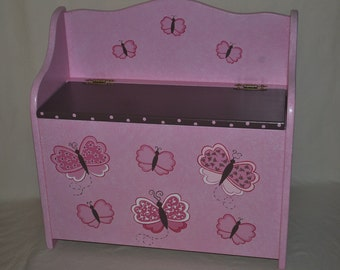 Toy Chest Bench - Pink/Brown Butterflies