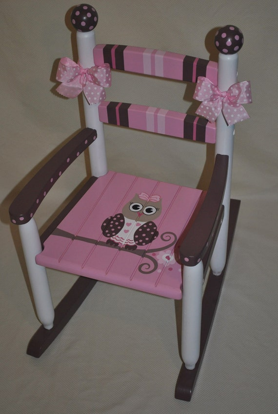 Childrens Custom Hand Painted Girls Owl Pink and Brown Rocking