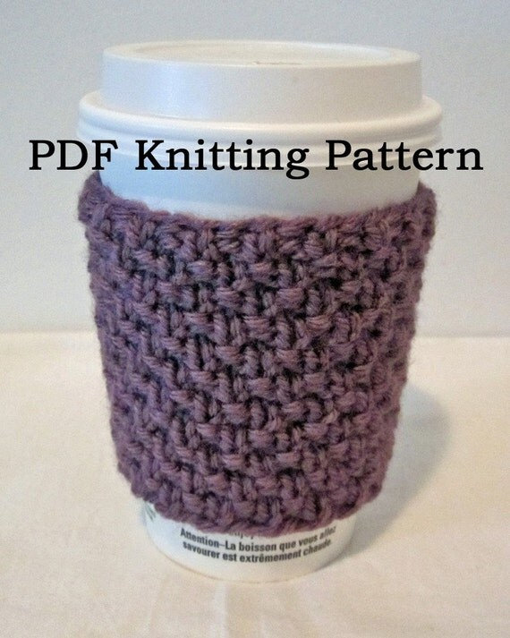 Coffee Cozy Knit Pattern : Items similar to PDF Knitting Pattern - Coffee Cozy or ...