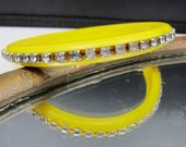 Vintage Yellow Bracelet with Rhinestones