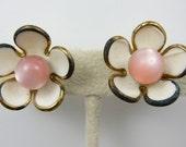 Pink and White Earrings Vintage Flower Earrings