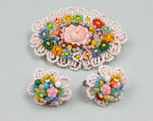 Beaded Brooch and Earring  Set Seed Beads