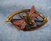 Gold Moth Brooch, Antique