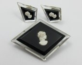 Lucite Cameo Brooch and Earrings, Vintage