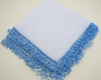 Handkerchief Crochet Edge Blue and White Handkerchief White Hankie Blue Crochet