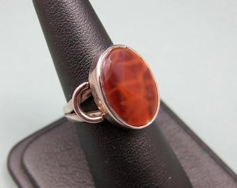 Vintage Sterling Jasper Ring Vintage Orange Stone Lizard Skin Jasper