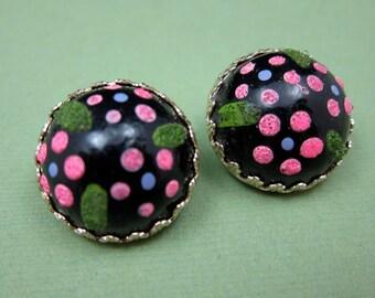 Polka Dot Earrings Vintage Brown and Pink Polka Dot Clip Earrings
