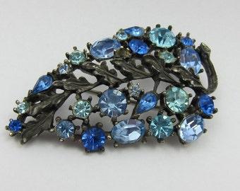 Vintage Lisner Blue Rhinestone Brooch Blue Brooch Rhinestone Lisner Jewelry