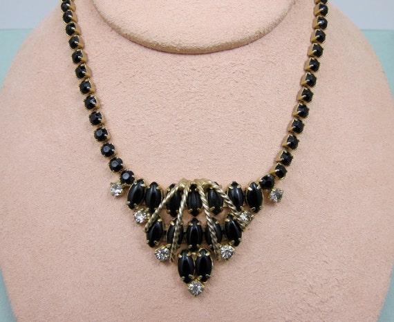 Art Deco Black  Necklace Vintage Black Rhinestone Necklace Art Deco Jewelry