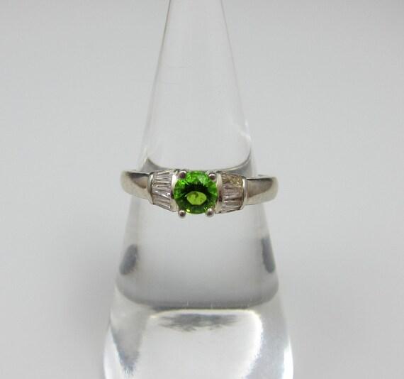 Sterling Peridot Rhinestone Ring
